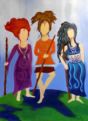 Sisterhood Warrior Women Original Acrylic Painting Art with a Voice by Jeanne Fry