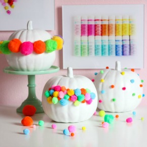 Use pom-poms to create modern and colorful no carve pumpkins!