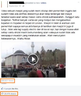 video viral di FB kumandang adzan di sebuah masjid