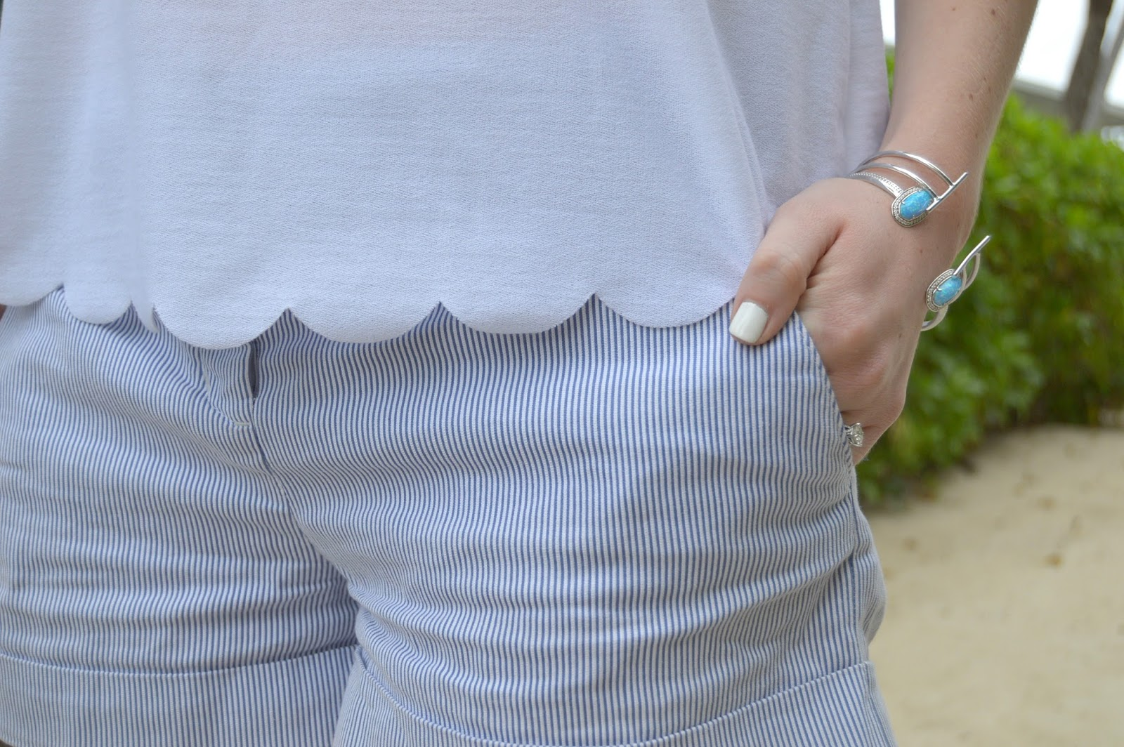 scalloped top with striped shorts