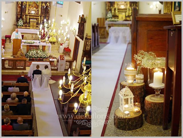 Rustykalna dekoracja ślubna kościoła z białych kwiatów Prudnik