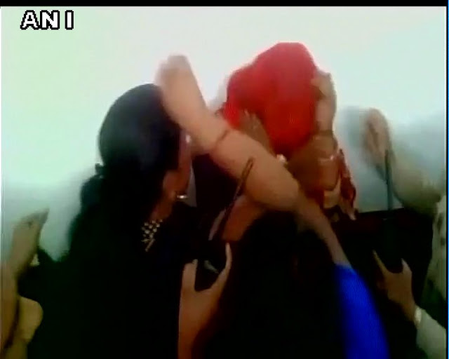 Two Muslim women Salma and Shameem were thrashed for carrying beef by a cow vigilante group at Mandssaur railway station in Madhya Pradesh on Tuesday.  A video shot in a mobile camera shows cow vigilantes beating them up. A small team of policemen are also seen trying to intervene but not before the Muslim women bear the brunt of the mob fury.