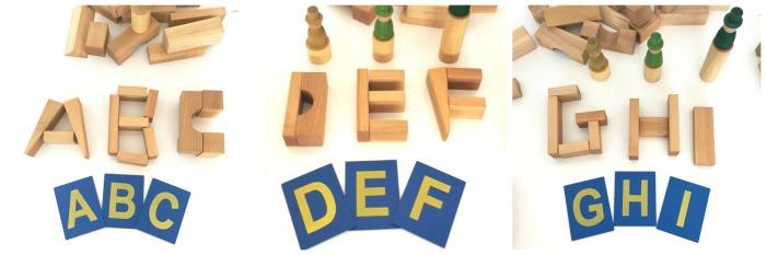 actividades y juegos aprender letras, lectoescritura, leer, escribir construir letras con bloques construccion