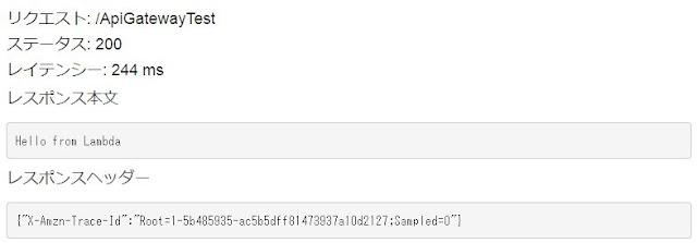 API Gateway での正常動作OK