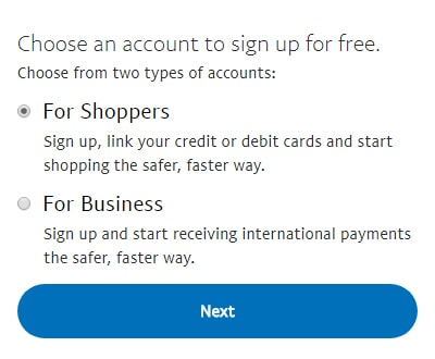 select paypal account options