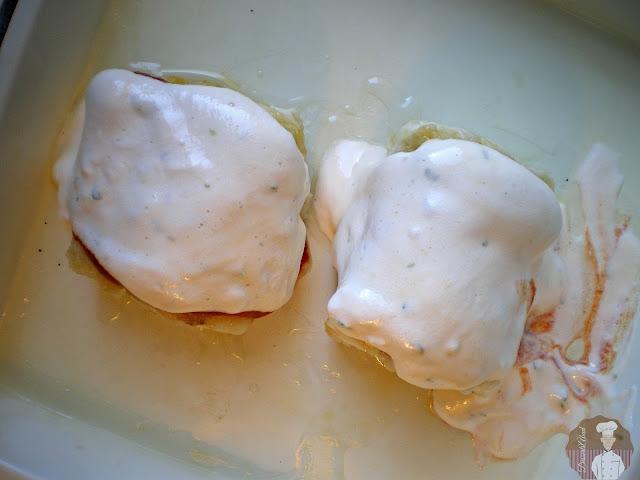 Bacalao con muselina de ajos: Previo al horneado