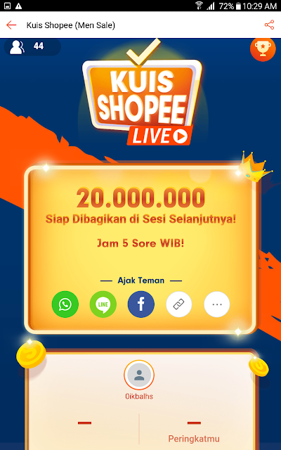 Tampilan Utama Daily Game Kuis Shoppe.