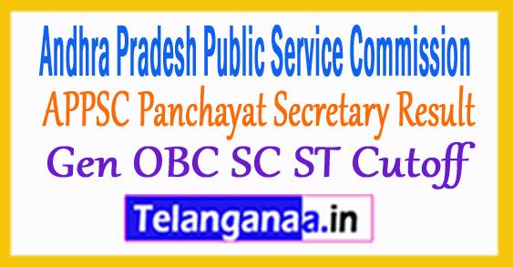 APPSC Panchayat Secretary Mains Result 2018 Gen OBC SC ST Cutoff