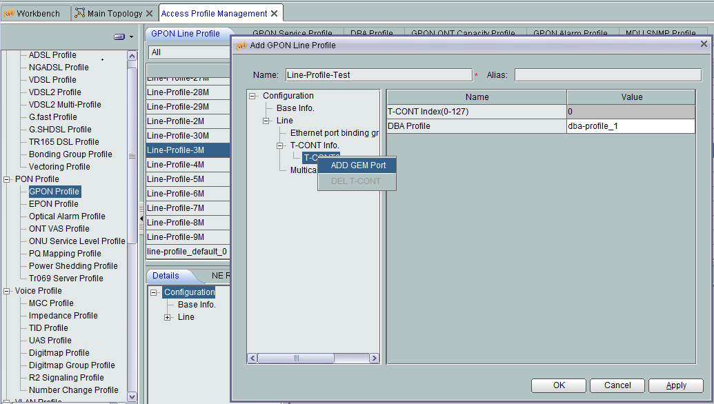 How to Create Traffic Table, DBA profile, Line Profile and
