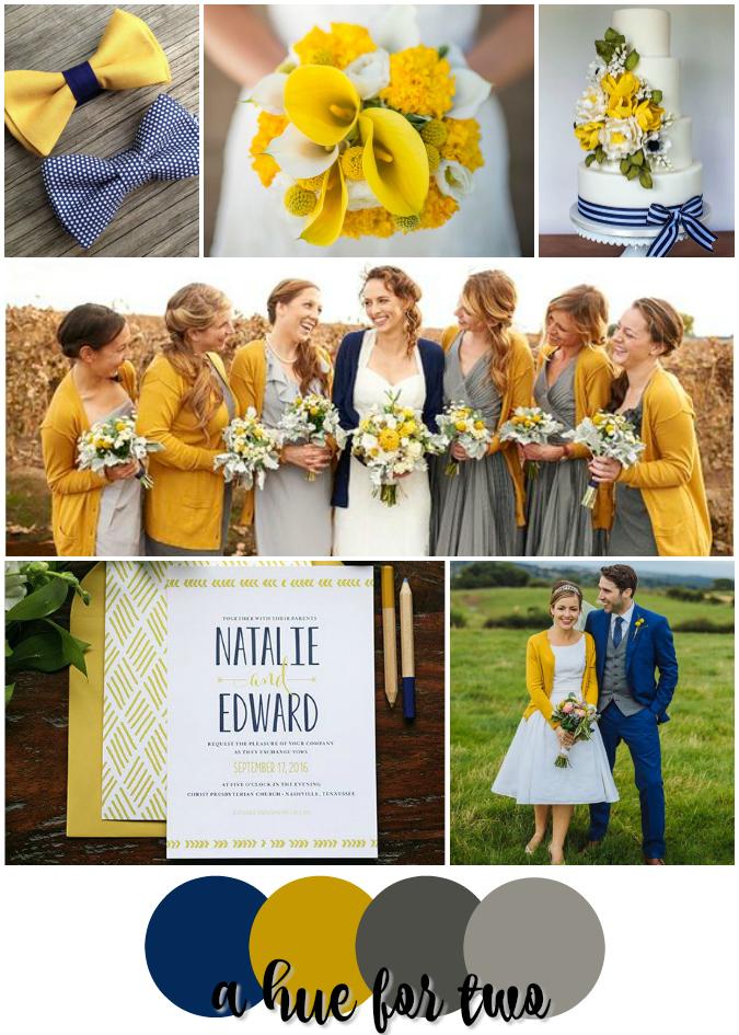 Navy Mustard And Grey Rustic Wedding Colour Scheme