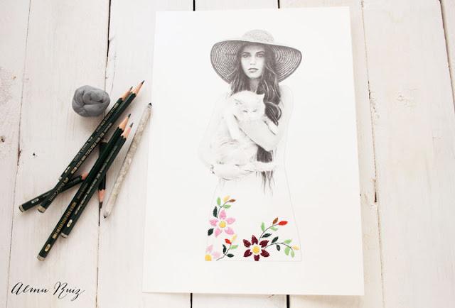 Dibujo a lápiz y bordado a mano sobre papel