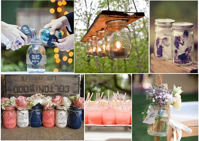 Inspirations pour décorer sin mariage avec des bocaux en verre mason jar blog mariage www.unjourmonprinceviendra26.com
