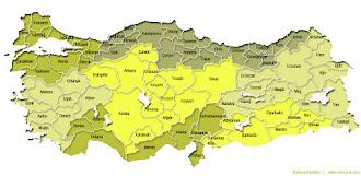 Sarı renkte İller ve Bölgeler Haritası