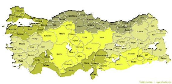 (En iyi seçim) Türkiye Haritası Bölgeler Boyama