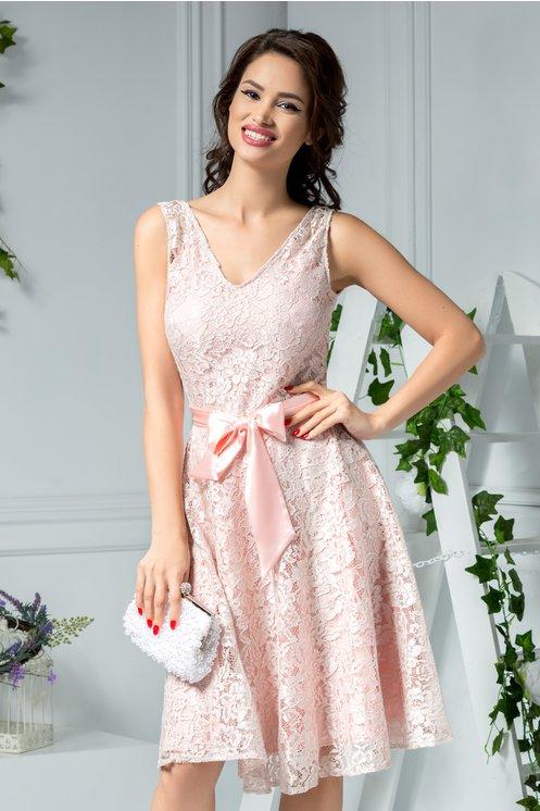 Rochie midi lejera de seara pentru vara de ocazie rose din dantela