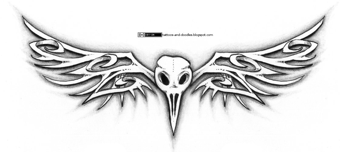 56a0c7343 Tattoos and doodles: Bird skull and bone-likes wings