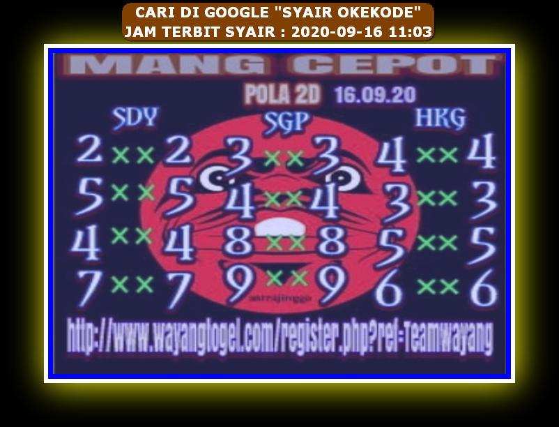 Kode syair Hongkong Rabu 16 September 2020 148