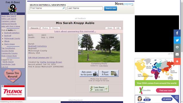 Found - Sarah (Knapp) Auble (1818-1904) Death and Burial