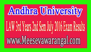 Andhra University LAW 3rd Years 2nd Sem July 2016 Exam Results
