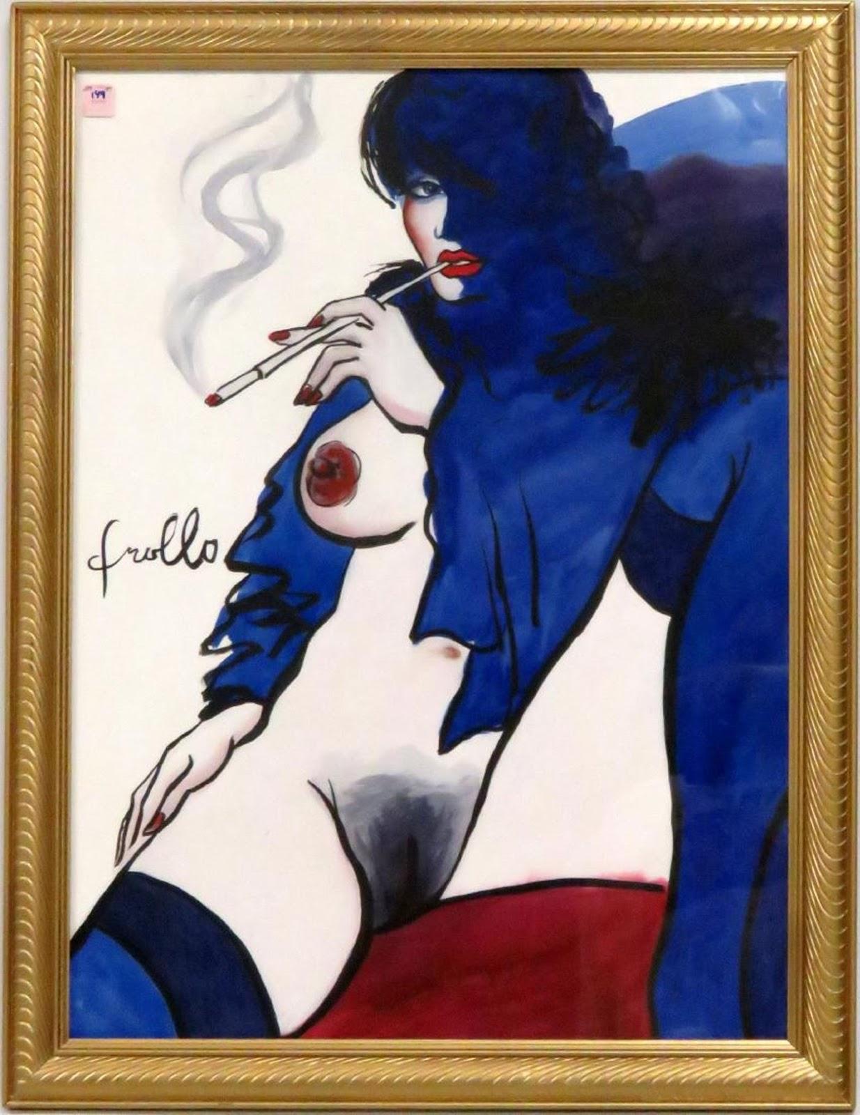 Arte erótico, acuarela de una mujer desnuda mostrando un seno y el pubis