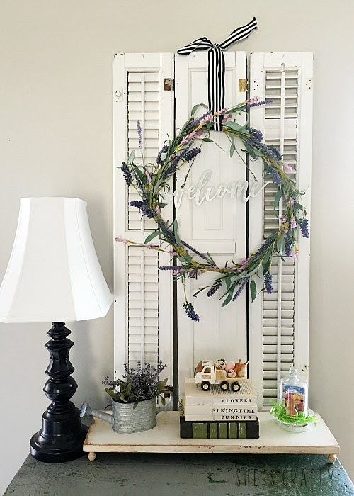 Spring Home Tour - farmhouse, Easter and vintage style-vintage shutters, DIY cloche, vintage truck