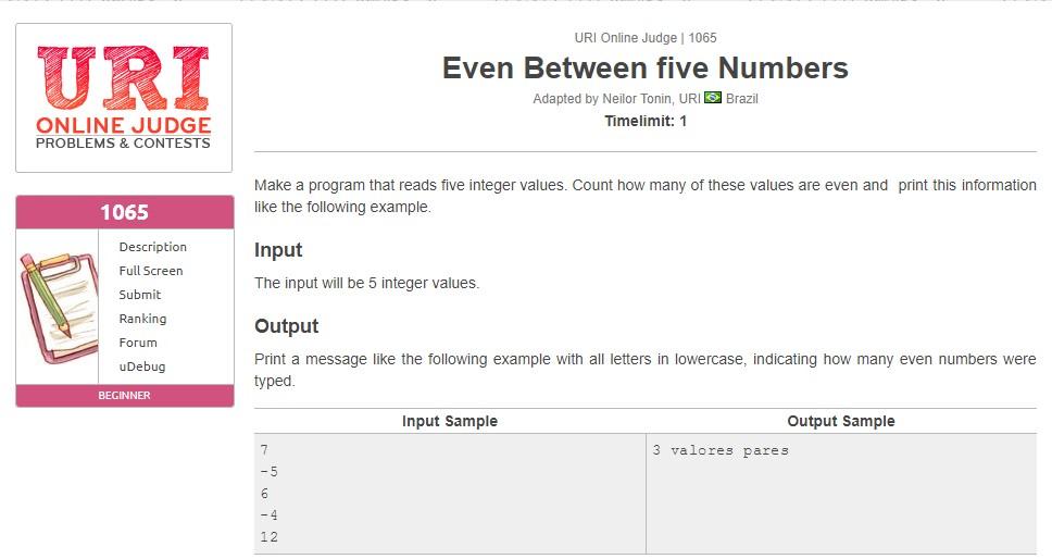 URI Online Judge Solution 1065 Even Between five Numbers - Solution in C, C++, Java, Python and C#