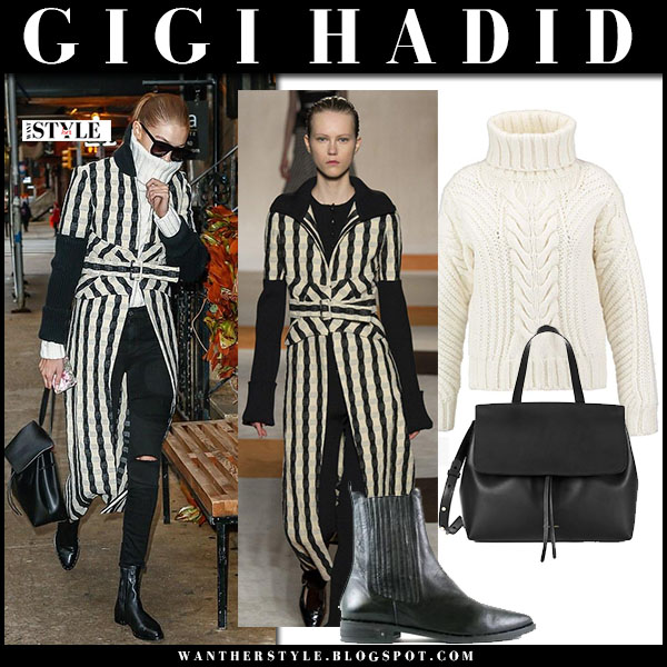 Gigi Hadid in striped black and white coat, black jeans and black ankle boots freda salvador what she wore