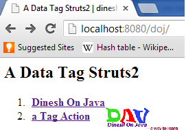 a tag example in Struts2