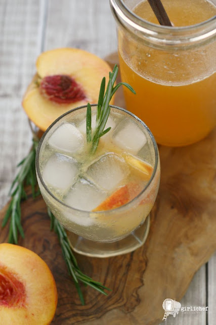 Peach-Rosemary Shrub Syrup - All Roads Lead to the Kitchen