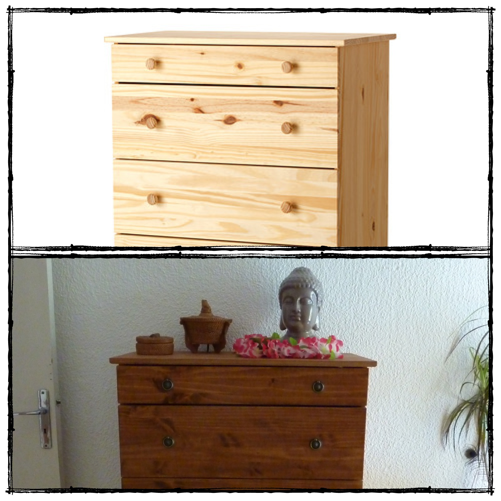 avant apr s relooker une commode en pin initiales gg. Black Bedroom Furniture Sets. Home Design Ideas