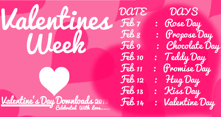 Valentines Day Week List 2019 Dates Schedule Timetable