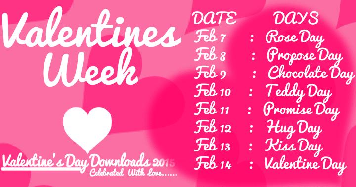 Valentines Day Week List 2019 Dates Schedule Amp Timetable