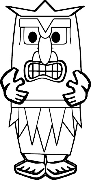 Hawaiian Tiki Coloring Page  Cartoon Tiki Coloring Page