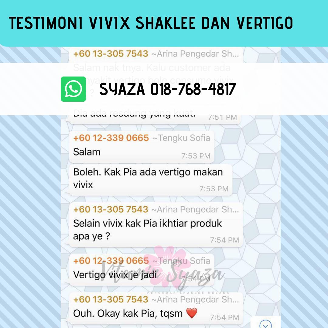 testiomoni vivix shaklee dan masalah vertigo