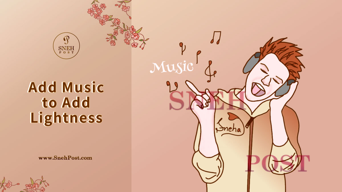 Make eating environment good by listening good music: Illustration of a spike-haired, hoody-sweatshirt-wearing  boy enjoying music; the musical notes and beats floating in the air with messege of adding music to add lightness