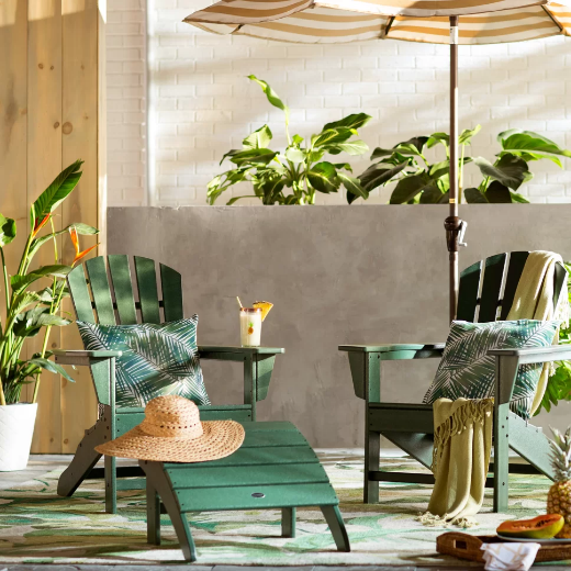Simple Green Tropical Style Outdoor Space with Adirondack Chairs