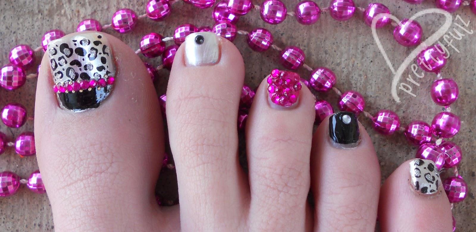 Prettyfulz: KONAD PEDICURE   Pink & Black Leopard Nail Art ...