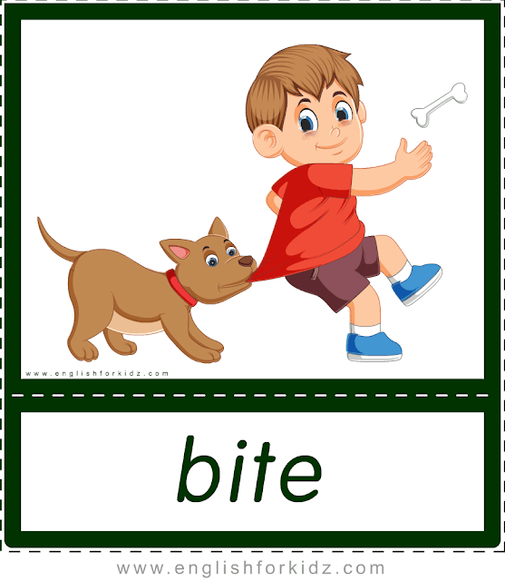 Bite (dog) - printable animal actions flashcards for English learners