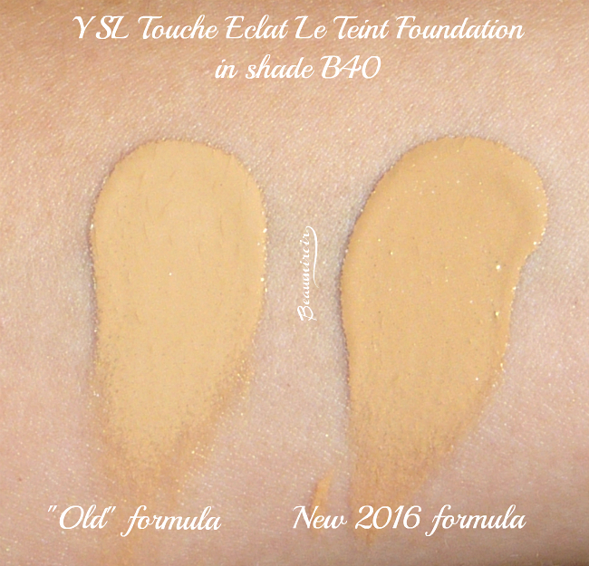 Comparative swatches Yves Saint Laurent Touche Eclat Le Teint old & new formula in B40