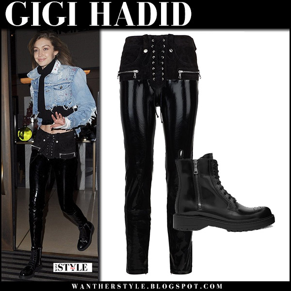 Gigi Hadid in black lace-up pants unravel and black ankle boots prada model off duty style november 8 2017