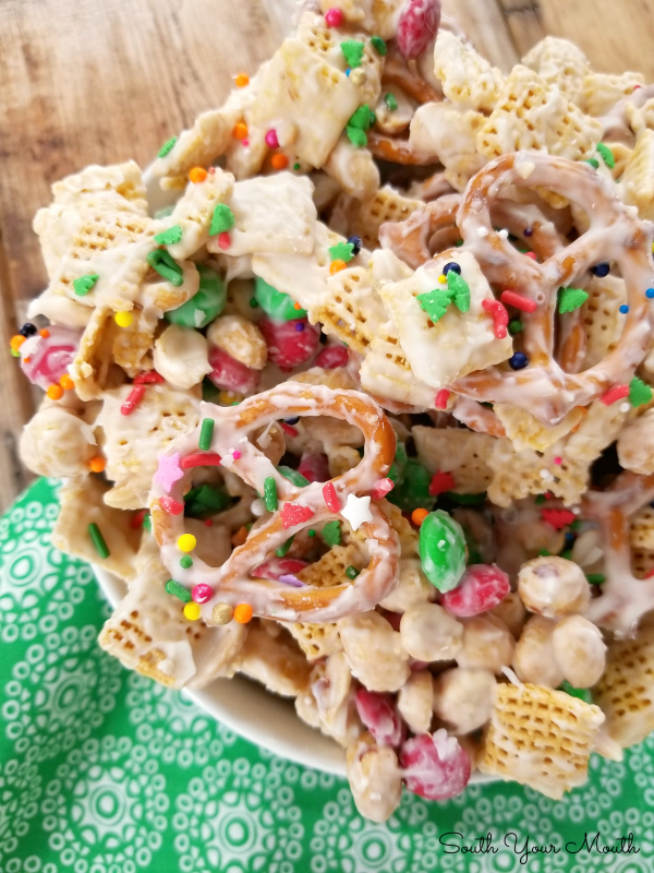 Chex Mix Christmas.White Chocolate Trash