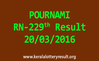 POURNAMI RN 229 Lottery Result 20-3-2016