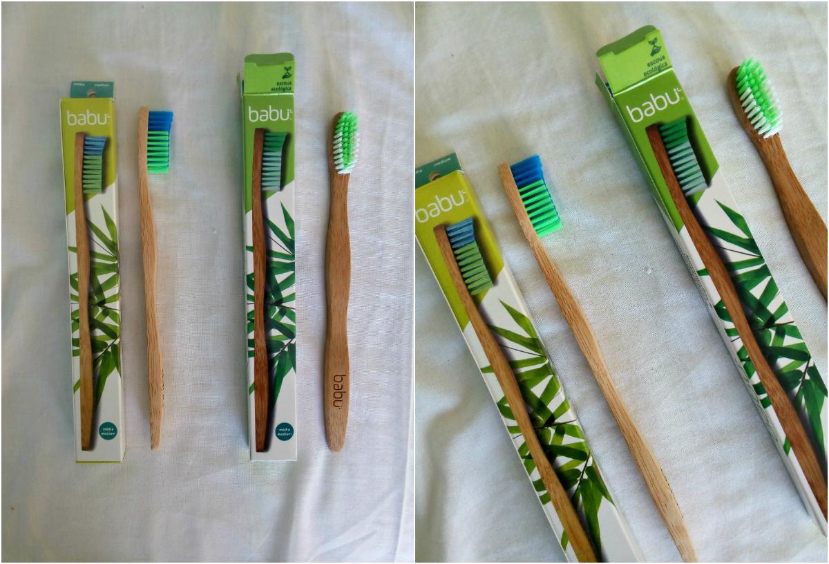 escovas de bambu da babu que comprei!