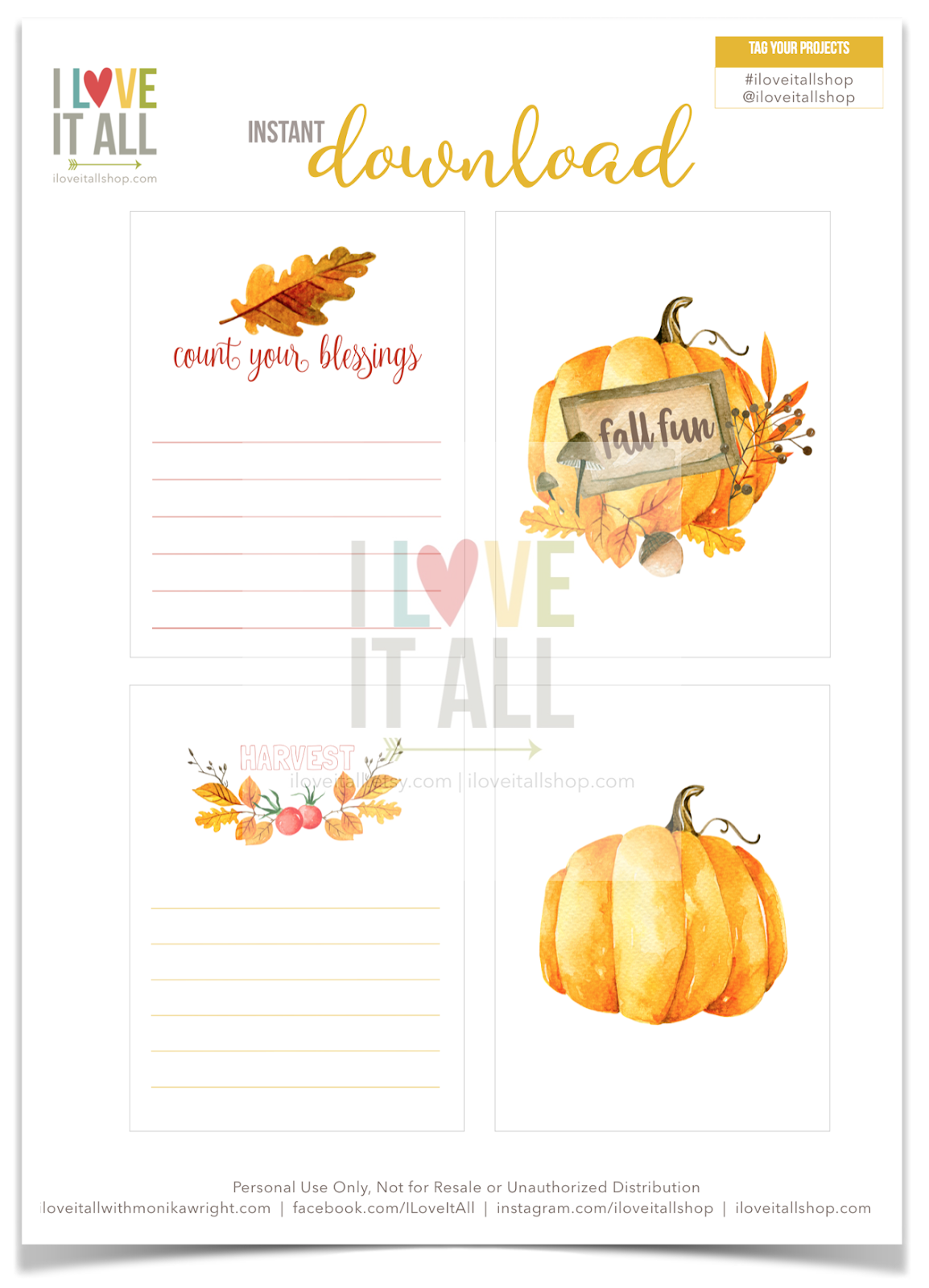 #Count Your Blessings #Fall Fun #Harvest #journaling cards #planner supplies #printable #download #iloveitallshop