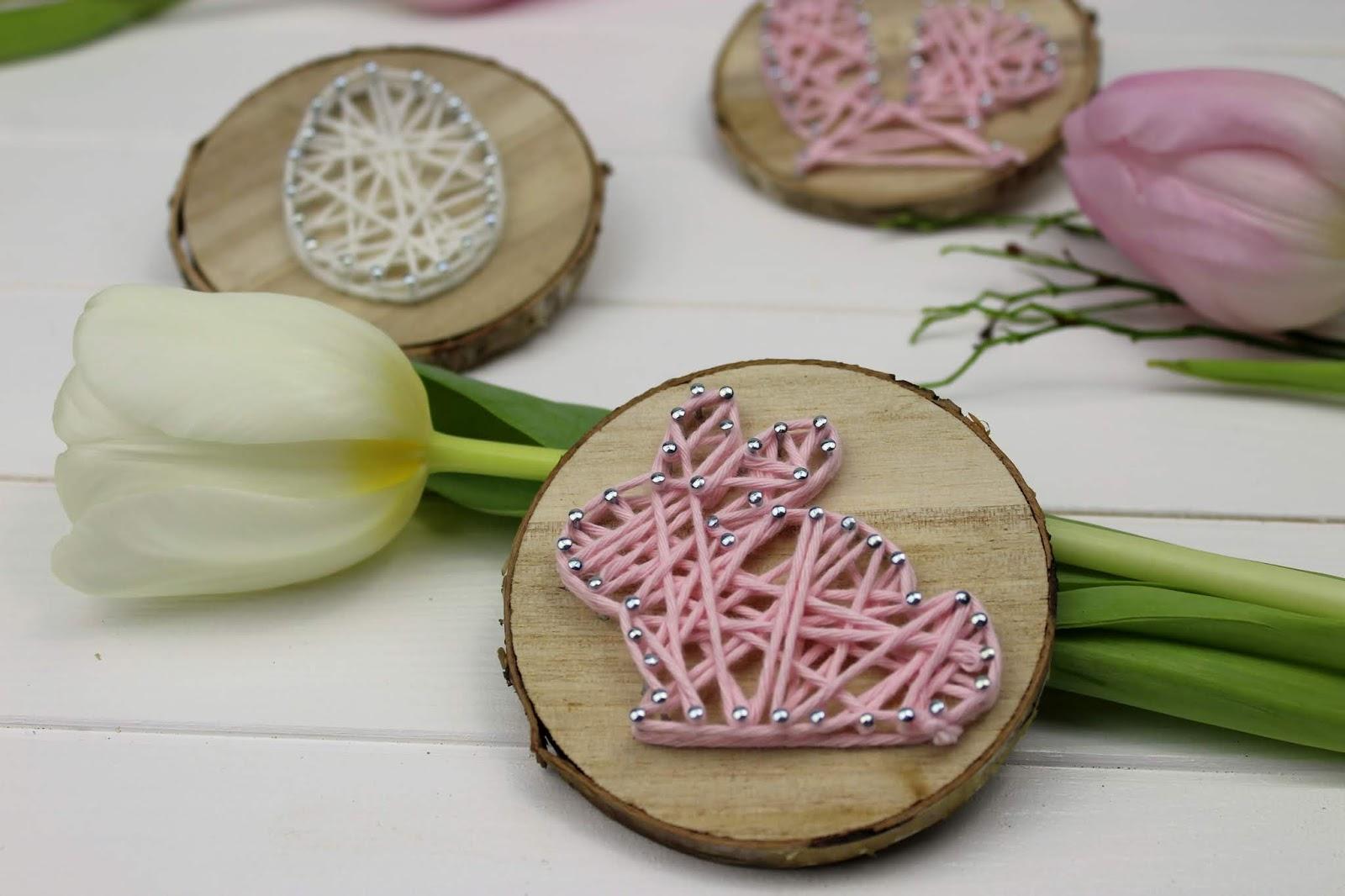 Osterdeko: Osterhase und Osterei in String Art auf einer Astscheibe ganz einfach selber machen + 2 Vorlagen