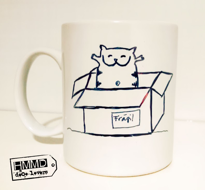 Tazas para empezar el día con buen humor, mensajes positivos, buen rollo, desayuno con humor, Hoy ando tan positivo que parezco un protón, Hoy seré más feliz que un gato en una caja, HMMD ,handmademaniadecor. Funny mugs, happy breakfast, breakfast in a good mood