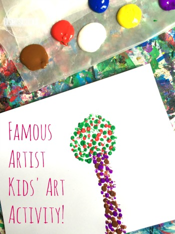 seasons craft for kids using pointillism famous artists style