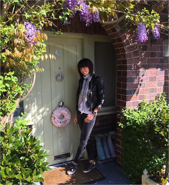 My Midlife Fashion, Zara leather biker jacket, john lewis snow leoaprd skinny scarf, yuniont t shirt, golden goose leopard print trainers