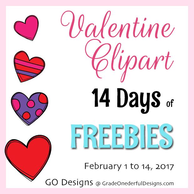 14 days of valentine clipart freebies