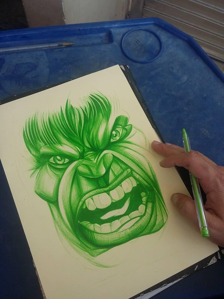 Arte Local Tattoo Cara A Cara Com O Hulk Desenho Com Canetas
